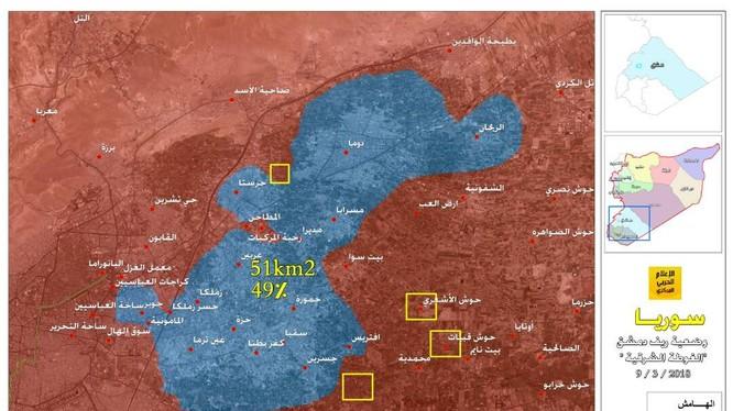 Bàn đồ chiến trường Đông Ghouta, quân đội Syria giải phóng hơn 51% diện tích khu vực. Ảnh truyền thông Hezbollah
