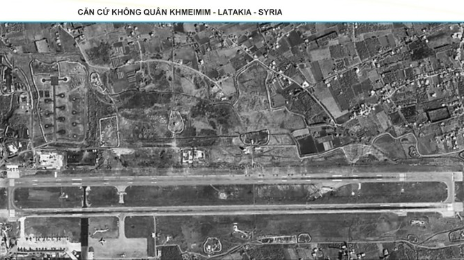 Căn cứ không quân Nga Khmeimim ở Latakia, Syria. Ảnh vệ tinh ngày 19.02.2018