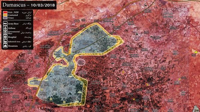 Bản đồ chiến sự khu vực Đông Ghouta, quân đội Syria giải phóng Misraba, chia cắt thành 2 vùng chiến tuyến - ảnh South Front