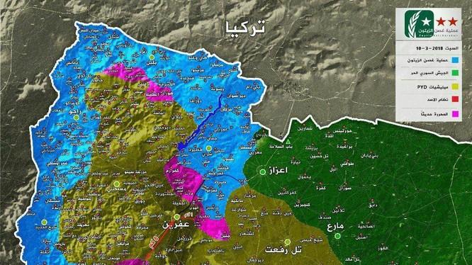 """Tình hình chiến sự khu vực Afrin tính đến ngày 10.03.2018 theo truyền thông """"đối lập: Syria FSA"""