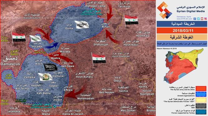 Tình hình thực tế chiến trường Đông Ghouta tính đến hết ngày 11.03.2018 theo Syrian Digital Medai