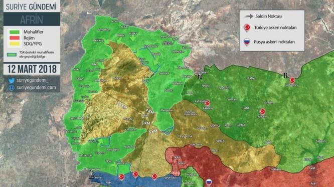 Tình hình chiến sự khu vực Afrin, quân đội Thổ Nhĩ Kỳ còn 5 km trước khi phong tỏa hoàn toàn thành phố Afrin. Ảnh South Front