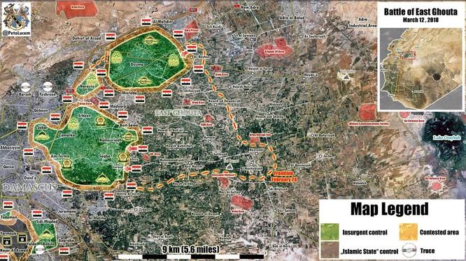 Tình hình chiến sự Đông Ghouta ngày 12.03.2018, quân đội Syria tiếp tục tấn công mãnh liệt vào các vị trí của lực lượng Hồi giáo cực đoan - ảnh Muraselon