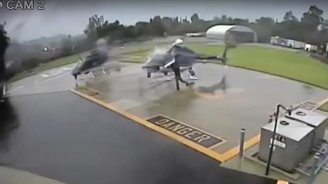 Hai máy bay trực thăng va chạm cánh nâng chính trên sân bay, cả hai đều bị phá hủy