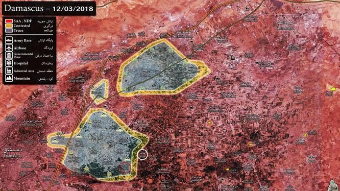 Tình hình chiến sự vùng phía nam Đông Ghouta ngày 12.03.2018 theo South Front