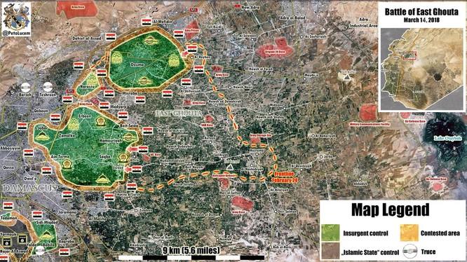 Các mũi tiến công của quân đội Syria ngày 14.12.2018 theo Muraselon