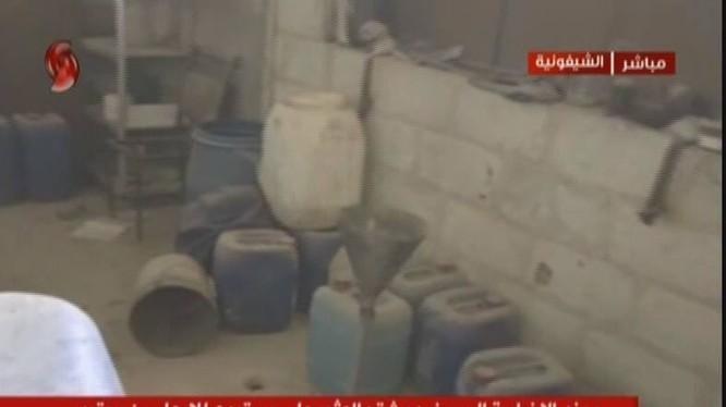 Kho hóa chất của nhóm Jaysh Al-Islam thuộc tổ chức Quân đội Syria tự do (FSA) được Ả Rập Xê út hậu thuẫn. Ảnh minh họa Al-Ikhbariya