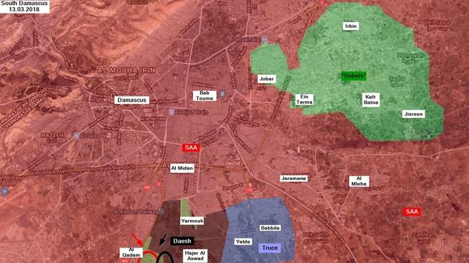 Khu vực chiến trường Trại tị nạn Yarmouk, tình hình đến ngày 13.03.2018