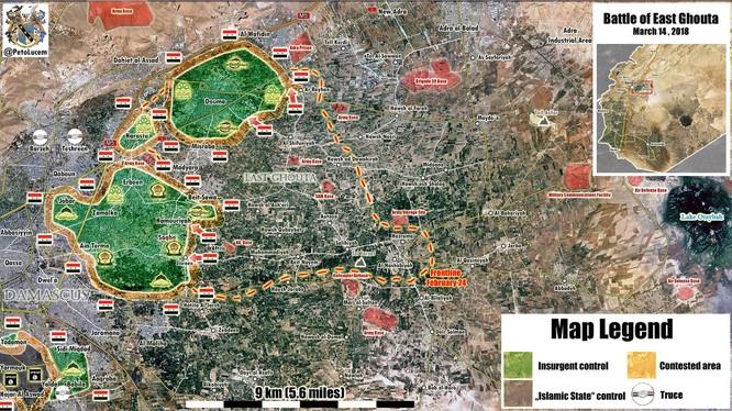 Các mũi tiến công của quân đội Syria trên chiến trường Đông Ghouta. Ảnh Masdar News