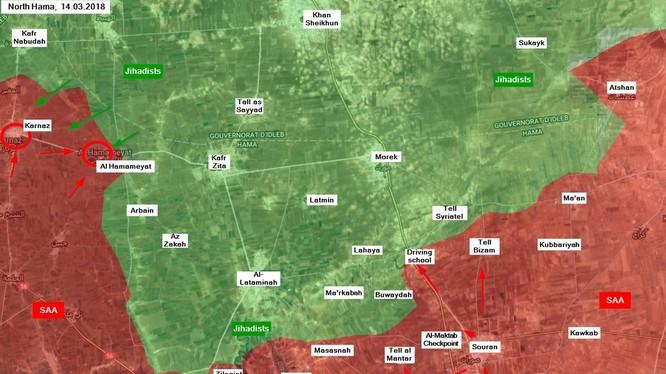 Các đơn vị quân đội Syria và quân tình nguyện giành lại các địa bàn đã mất trong ngày 14.08.2018 theo South Front