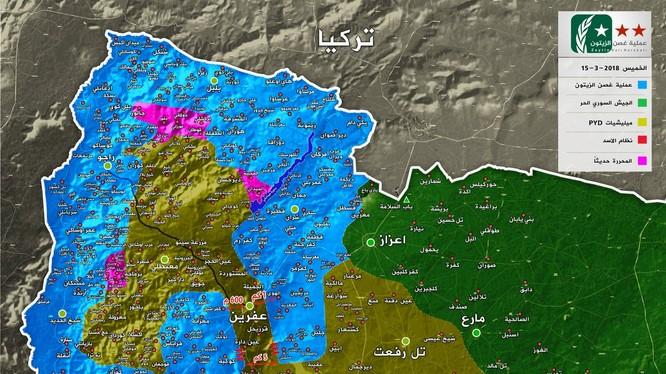 Tình hình chiến sự chiến trường Afrin tính đến ngày 15.03.2018. ảnh truyền thông FSA