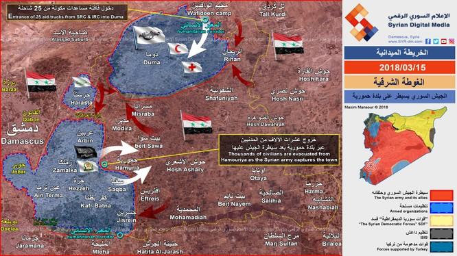Tình hình chiến sự Đông Ghouta tính đến ngày 15.03.2018, ảnh minh họa Syrian Digital Media