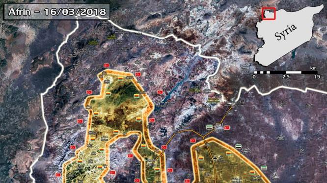 Bản đồ tình hình chiến sự Afrin tính đến ngày 17.03.2018 theo South Front