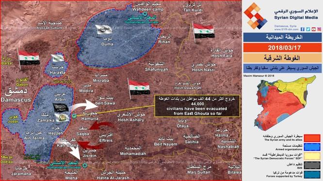 Chiến trường khu vực Đông Ghouta ngày 17.03.2018 theo South Front