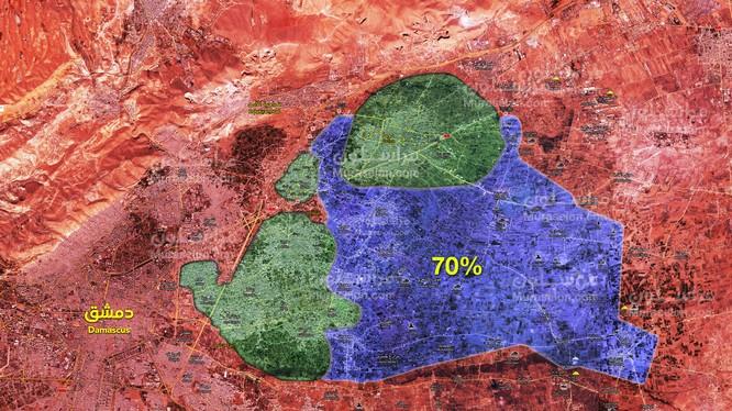 Quân đội Syria giải phóng hơn 70% diện tích khu vực Đông Ghouta - ảnh Muraselon
