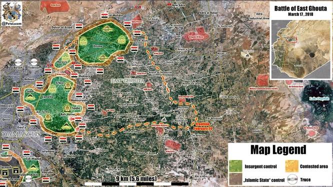 Hai mũi tiến công mãnh liệt vào Kafr Batna và Jisreen đã buộc nhóm Hồi giáo cực đoan nổi dậy phải đầu hàng. Ảnh Muraselon