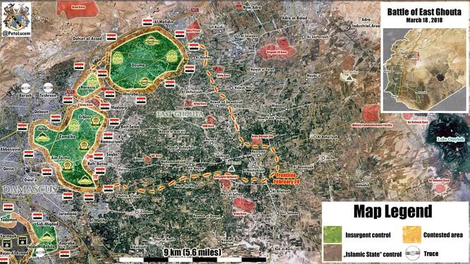 Quân đội Syria giải phóng gần 80 % diện tích khu vực Đông Ghouta. Anh Masdar News
