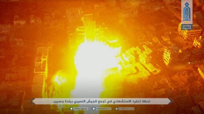 Nhóm khủng bố HTS đánh bom tự sát ở Đông Ghouta - ảnh trang Iba'a cơ quan truyền thông Al-Qaeda Syria