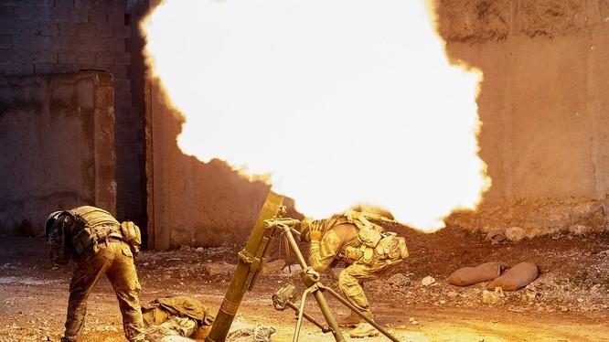 Pháo kích vào chiến trường khu vực nam Đônng Ghouta, ảnh minh họa Masdar News