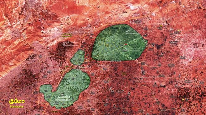 Tình hình chiến sự khu vực Đông Ghouta, tính đến ngày 22.03.2018 theo Muraselon.