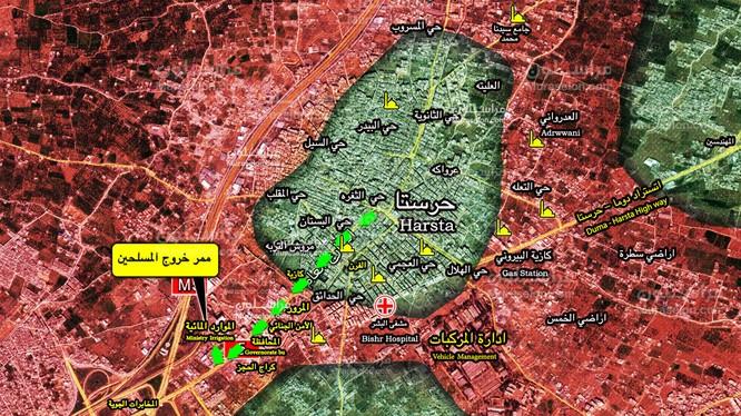 Bản đồ hành trình ra khỏi quận Harasta về tình Idlib của nhóm chiến binh Ahrar Al-Sham. Ảnh Muraselon
