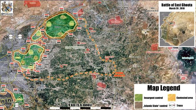 Bản đồ tình hình chiến sự Đông Ghouat, quân đội Syria tập trung giải quyết các địa bang trọng diểm Ayn Tarma, Jobar và Harasta