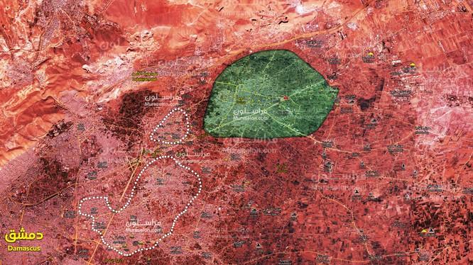 Bản đồ tình hình chiến sự Đông Ghouta, gần như đã hoàn toàn giải phóng, chỉ còn thị trấn thành phố Đông Ghouta