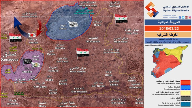 Bản đồ tình hình chiến sự Đông Ghouta tính đến ngày 23.03.2018