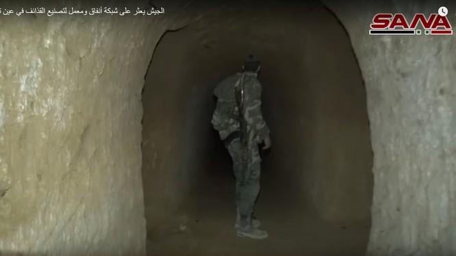 Đường hầm ngầm của lực lượng Hồi giáo cực đoan ở Đông Ghouta. Ảnh minh họa video SANA