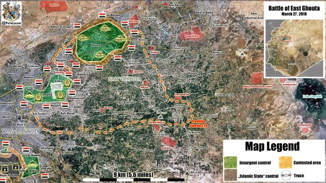 Bản đồ tình hình chiến sự Đông Ghouta tính đến ngày 27.03.2018 theo Soouth Front