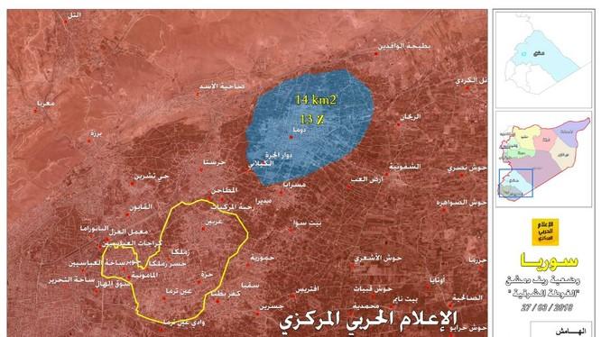 Khu vực thị trấn thành phố Douma. Đông Ghouta - ảnh bản đồ Masdar News