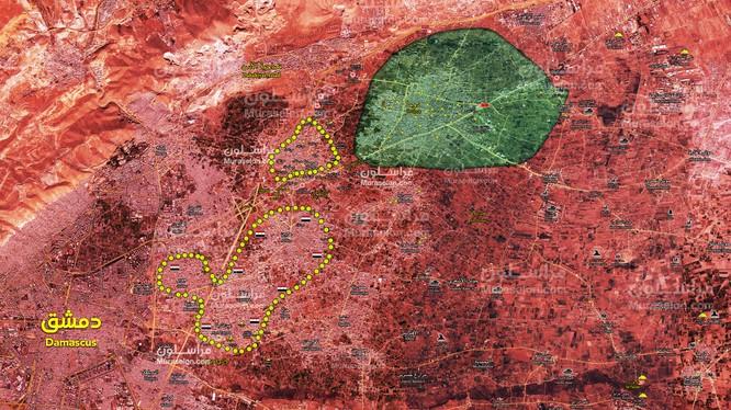 Bản đồ chiến sự Đông Ghouta tính đến ngày 31.03.2018 theo Muraselon