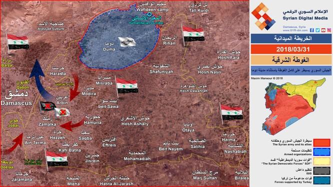 Tình hình chiến sự Đông Ghouta ngày 31,93,2918 - ảnh Hẽbollah