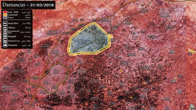 Tình hình chiến sự khu vực Đong Ghouta tính đến cuối ngày 31.03.2018 theo Sout Front