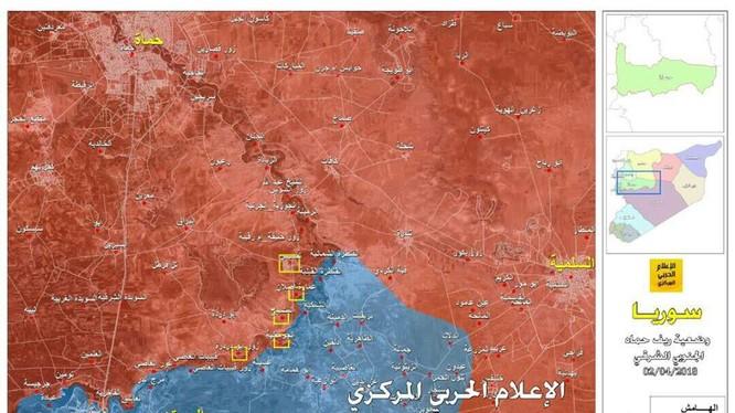 Bản đồ 5 thị trấn được giải phóng ỏ Rastan, miến bắc tnhr Hama