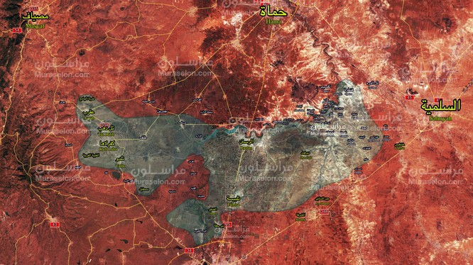 Bản đồ chiến sự vùng Rastan - Homs . Ảnh Muraselon