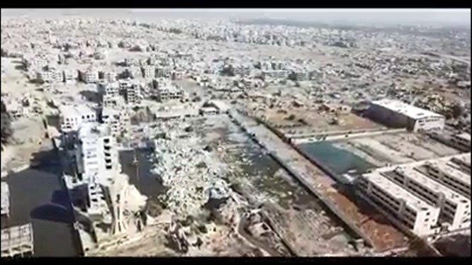 Toàn cảnh quận Jobar, ngoại ô Damascus - ảnh vieo quân đôi Syria