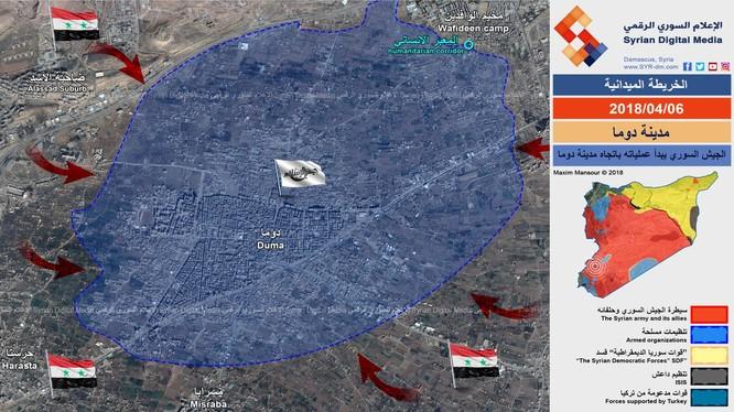 Chiến tuyến khu vực thị trấn thành phố Douma - ảnh Syrian Digital Medai
