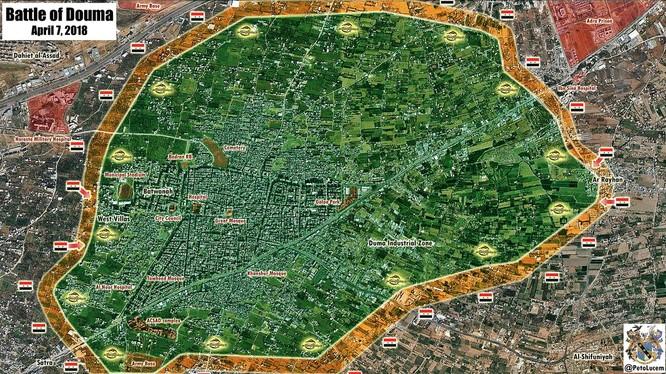 Chiến trường khu vực Douma, đông Ghouta, ảnh minh họa Masdar News