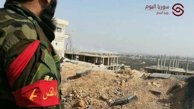 Binh sĩ Palestine trên chiến trường Đông Ghiuta - ảnh truyền thông Palestne