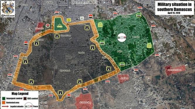 Bản đồ tình hình chiến sự Yarmouk ngày 16,04,2018 theo Masdar News