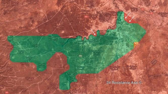 Bản đồ chiến sự vùng Rastan- Hama, Homs ngày 16.04.2018 theo South Front