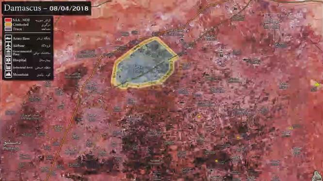 Bản đồ tình hình chiến sự Đông Ghouta - ảnh minh họa video
