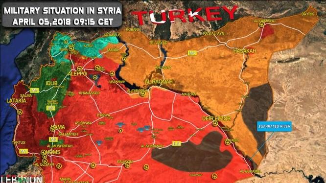Vị trí thị trấn Al-Dumayr trên bản đồ tình hình chiến sự Syria ngày 17.04.2017 theo South Front