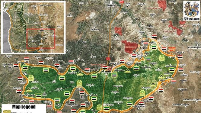 Bản đồ tình hình chiến sự khu vực Rastan - Homs, Hama - ảnh Soth Front