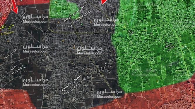 Bản đồ tấn công của quân đội Syria, đánh vào Trại tị nạn Yamouk=, Ảnh Muraselon