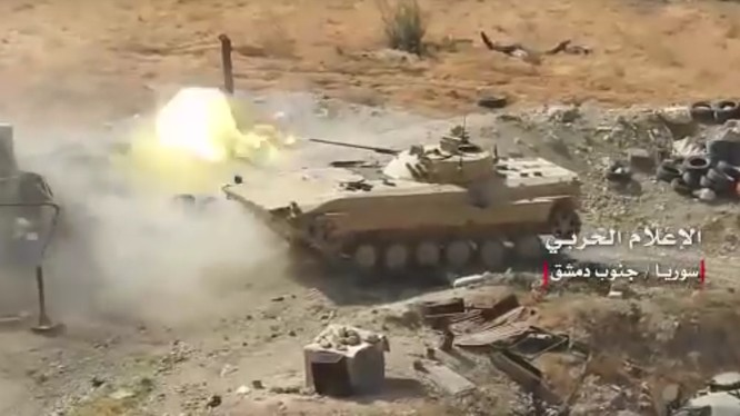 Quân đội Syria, chủ lực là sư đoàn cơ giới số 4, Vệ binh Cộng hòa và quân tình nguyện Palestine. Anh Masdar News