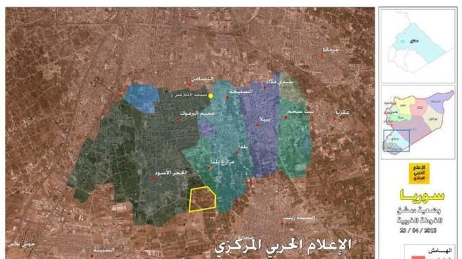 Bàn đồ tình hinh chiến sự các quận phía đông Damascus - anh truyền thông Hezbollah