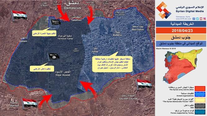 Bản đồ chiến thuật khu vực trại ti nạn Yarmouk - ảnh minh họa từ video