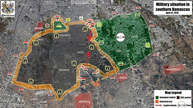 Tỉnh hình chiến sự khu vực các quận phia nam Damascus
